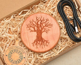 TREE of KNOWLEDGE QI Charging Wireless Charger Pad with Customized Engraved Cherry Wood