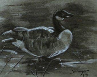Goose FRAMED Charcoal Original Drawing