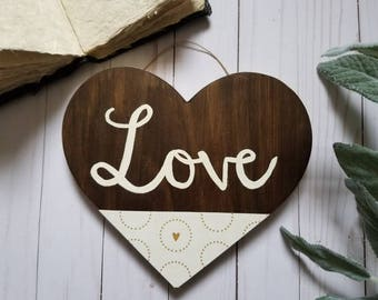 LOVE >>Painted Heart Wood Sign<< Valentines Day/Wedding/Bridal Shower/Anniversary Gift