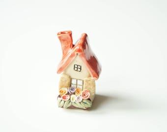 Ceramic House,  Housewarming Cake Topper, Miniature House, Little House Sculpture