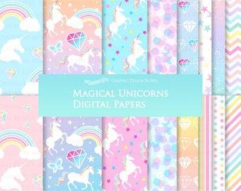 Magical Unicorns, White Unicorns,  Einhorn, Unicorn Digital, Unicorn Digital Paper Pack - Instant Download -  DP160