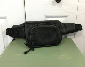 Vtg Black Leather Fanny Pack Festival Bum Bag