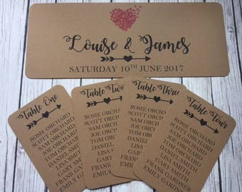 1 x Rustic/Shabby Chic Wedding Table Seating Plan Tag and/or header