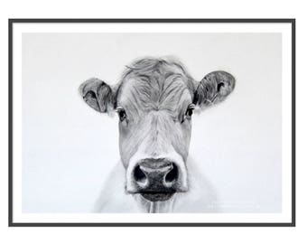 Cow Wall Art Print On Trend Cow Decor Black & White Print Pencil Drawing Farm Animal Matted Art Print Bovine Art Farmhouse Decor