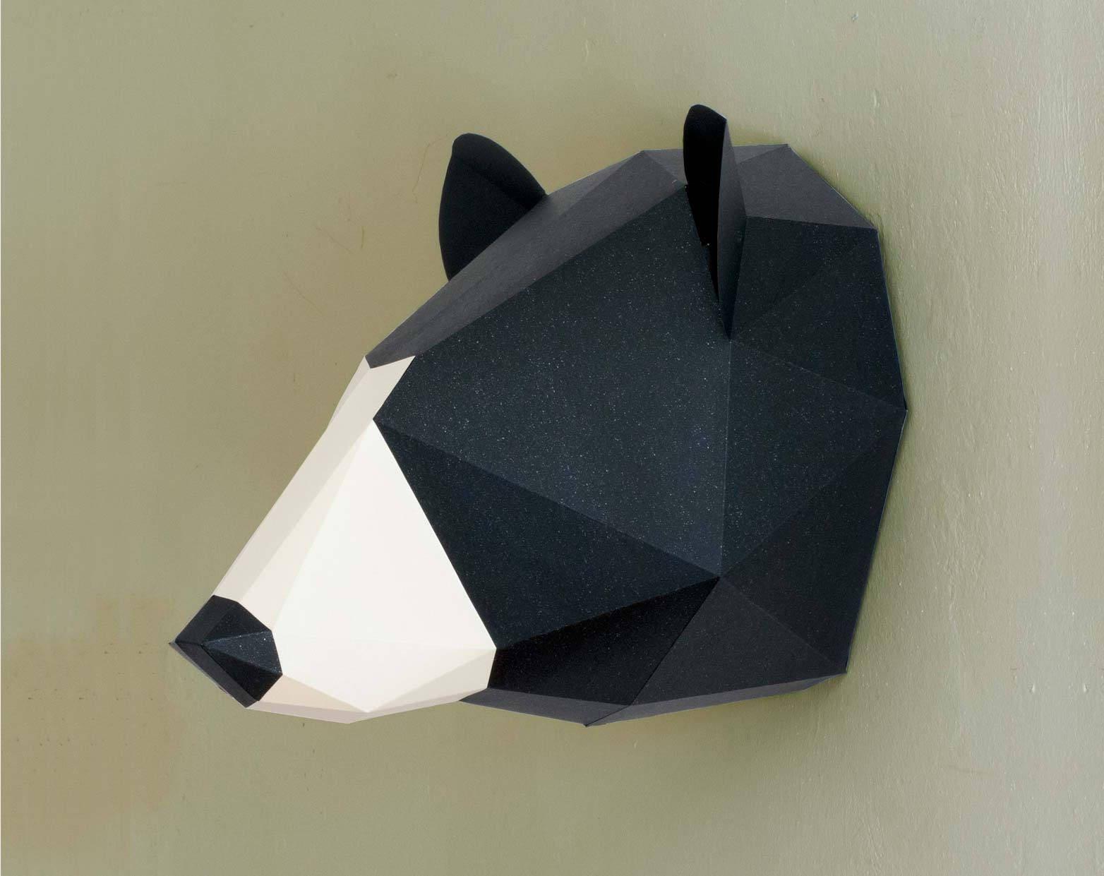 Black bear decor 3d papercraft bear art bear ornament zoom amipublicfo Choice Image