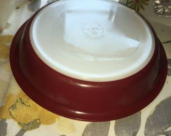 Vintage Pyrex Burgundy/Maroon Pie Plate