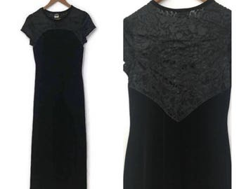 Vintage 90s Crushed Velvet BLACK Maxi Dress long goth burnout grunge dress BOHO clothing black velvet dress 1990s womens Medium