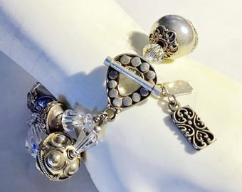 Tres Jolie Signed Bracelet, Swarovski Crystal and Bali Sterling Giant Beads