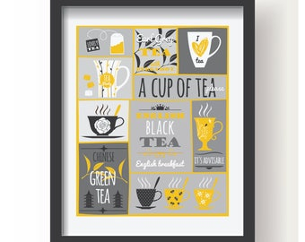 Yellow White Gray Tea Poster, Kitchen poster, Kitchen Decor, Kitchen Tea print, Tea wall art, Kitchen wall art, Tea decoration, Modern Tea