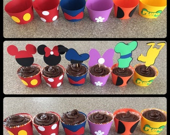 Disney cupcake wrappers, cupcake wrappers, disney party decor, cupcake toppers and wrappers, Mickey Mouse club  house wrappers and toppers,