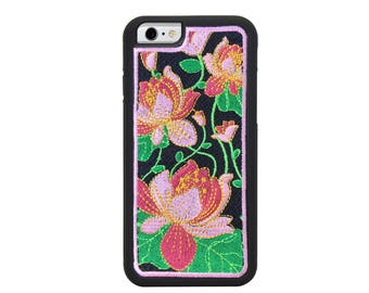 Lotus iPhone 6/6S Embroidered Cellphone Case