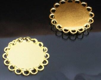 x 6 medium pendant round ring 20mm gold (T221)