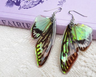 Fantasy Earrings - Fairy Accessories - Nature Lover Gift - Insect Jewelry - Iridescent Earrings - Cicada Wings - Lotus