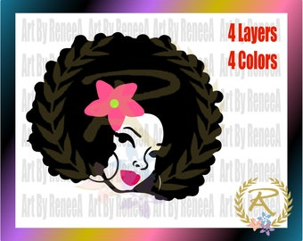 Afro Woman with Flower (SVG, DXF, EPS, Studio3)