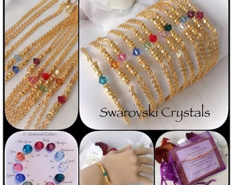 Swarovski Crystal Birthstone Personalised Gold Plated Bracelet in Twelve Colours by Emerald Forest Designs