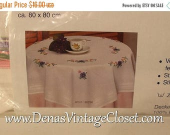 30 50% OFF Sale Vintage German Hand Embroider White Cotton Table Cloth Kit  80