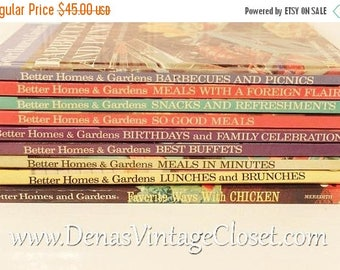 30% OFF Sale 9 Vintage Better Homes and Gardens Creative Cooking Library Cook Books 1960's