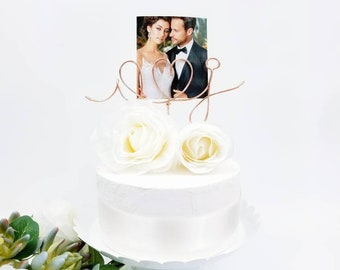 Rose Gold, Picture Holder, Initials Wedding Cake Topper