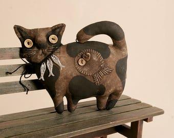Primitive Cat Lover Gift Folk Art Textile doll Primitive decor Halloween Cat collectible primitive handmade animal
