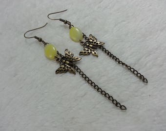 Yellow Butterfly dangle earrings