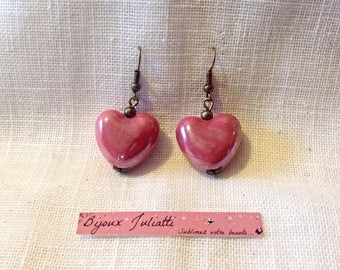 Ceramic heart earrings Valentine's day special