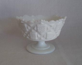 Vintage Westmoreland Milk Glass Pedestal Vase or Candy Dish, Vintage Westmoreland