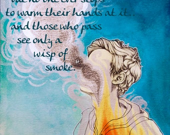 Body and Soul Vincent Van Gogh Letter Quote Original Painting Illustration