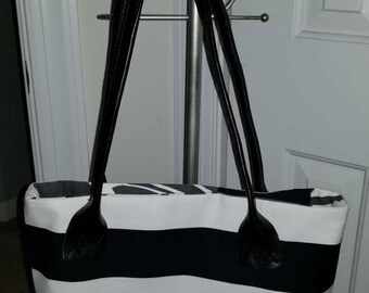 Black & White Striped Tote Bag with Neutral Interior