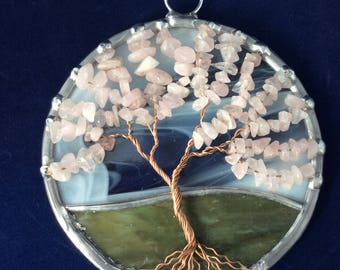 4 inch rose quartz tree of life suncatcher