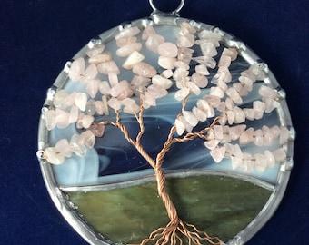 4 inch rose quartz tree of life suncatcher