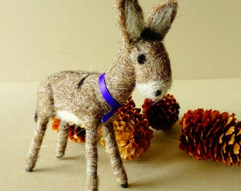 Little Donkey Christmas Decoration | Needle Felted Donkey Farm Animal Nativity Figurine | Seasonal Decor Tree Ornament | Christmas Ornament