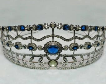 Bridal Headpieces 8.5 Ct Natural Diamond Blue Sapphire 925 Sterling Silver Tiara Crown Certified Wedding