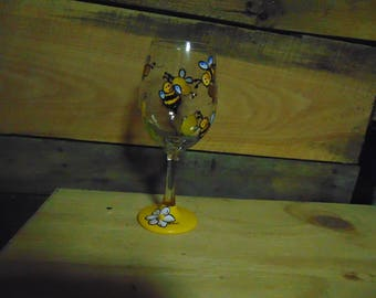 Hand painted bee wine glass