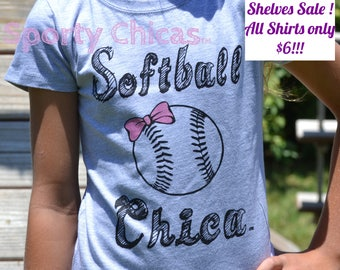 Softball Shirt, Girls Softball Shirt, Softball Bling Shirt w/Shimmery Pink Bow, Softball Gift, Softball Mom, Softball Girl, Kids Softball