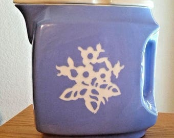"Harker Pottery Cameoware Blue Dainty Flower Pitcher & Lid Refrigerator Jug 8.5"""