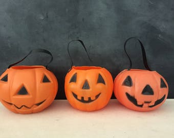plastic pumpkin vintage blow mold pumpkin small jack o lantern decoration - Plastic Pumpkins