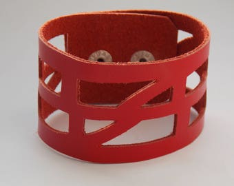 """Red Reclaimed Leather """"Self-Empowering"""" Good Vibes Cuff bracelet. Leather Wrist band"""