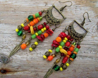Boho earrings with coral
