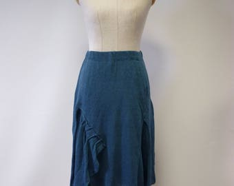 Boho petrol coloured linen skirt, M size.