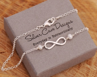 Beautiful Sterling Silver Infinity Knot And White Freshwater Pearls Anklet, Pearls Anklet, Sterling Silver Ankle Bracelet, Summer Accessory