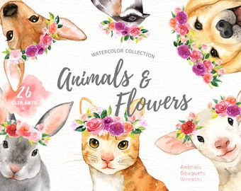 Animals and Flowers Watercolor Clip Art, Woodland Animals, Kids Clipart, Nursery Decor, wreath, puppy, cat, bunny, Animal with flower crown
