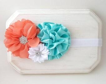 Coral and Aqua Headband - Coral Headband - Aqua Headband - Coral Baby Headband - Aqua Baby Headband - Flower Girl Headband - Aqua Cake Smash