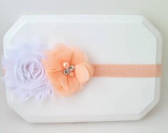 Peach and White Chiffon Flower Headband,Flower Girl Headband,Peach Cake Smash,Newborn Headband,Peach Baby Bow,Peach Headband,White Headband