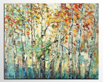 Autumn Tree Painting, Large Abstract Art, Canvas Painting, Modern Art, Landscape Wall Art, Canvas Art, Abstract Painting, Original Painting