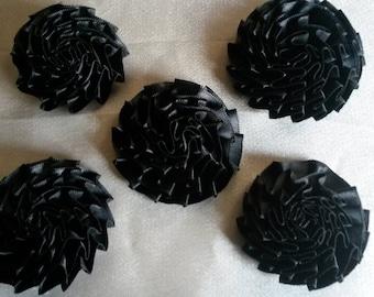 Set of six flowers pleated black satin