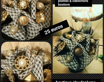 Bouquet of Milliner feathers, cabochons, buttons, mesh