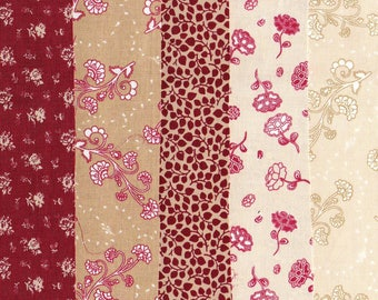 Tissu patchwork anglais - 5 petits coupons rouges et beiges - Ref.119-Assortiment, lot de coupons cotonAssortiment, lot de coupons coton