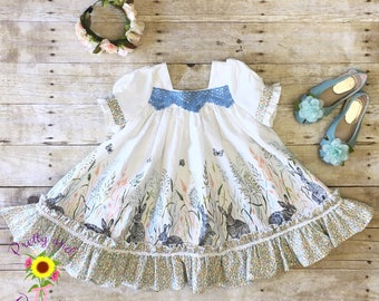 Spring bunny and flowers twirling dress