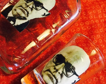 Theodor Adorno Whiskey  Flask and Free Shot Glasse--rare and cheap!