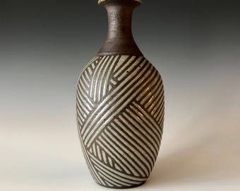 Southwest basket weave inspired handmade pottery speckled Gray and Black stoneware bottle vase, decor Haight Pottery Company